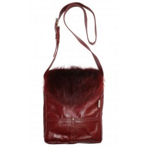 Bilodeau - COLOMBE Handbag, dyed red beaver fur
