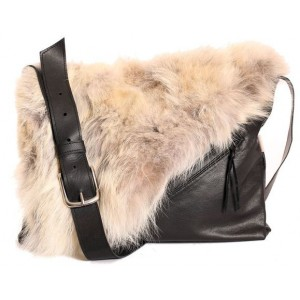Bilodeau - LYDIA Handbag, Leather and Coyote Paws Fur