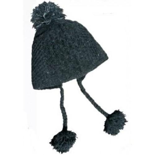 892f4b63b782f Bonnet en laine avec pompons, charcoal - Boutique L'Orignal Fringant