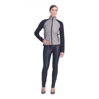 Stefano - Manteau COREEN cuir et neoprene, noir et ciment